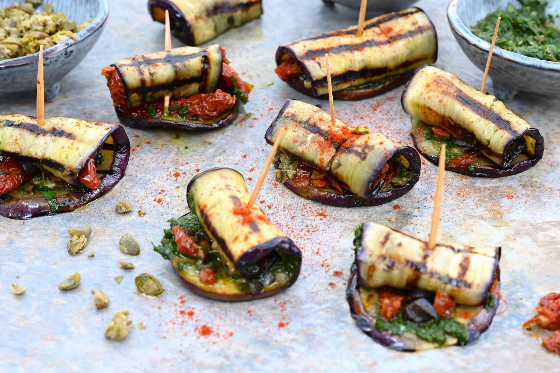 Aubergine Rolls with Mojo Sauce